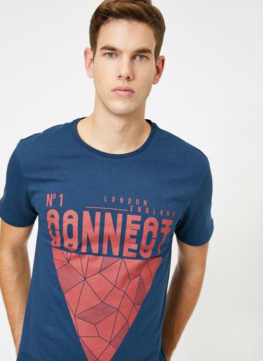 Koton Bisiklet Yaka Grafik Baskılı Slim Fit T-Shirt Lacivert